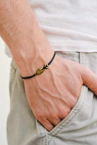 Cross fish bracelet for men, black cord - shani-adi-jewerly