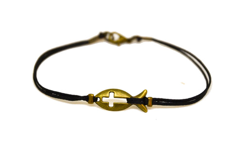 Bronze Cross fish bracelet for men, black cord - shani-adi-jewerly