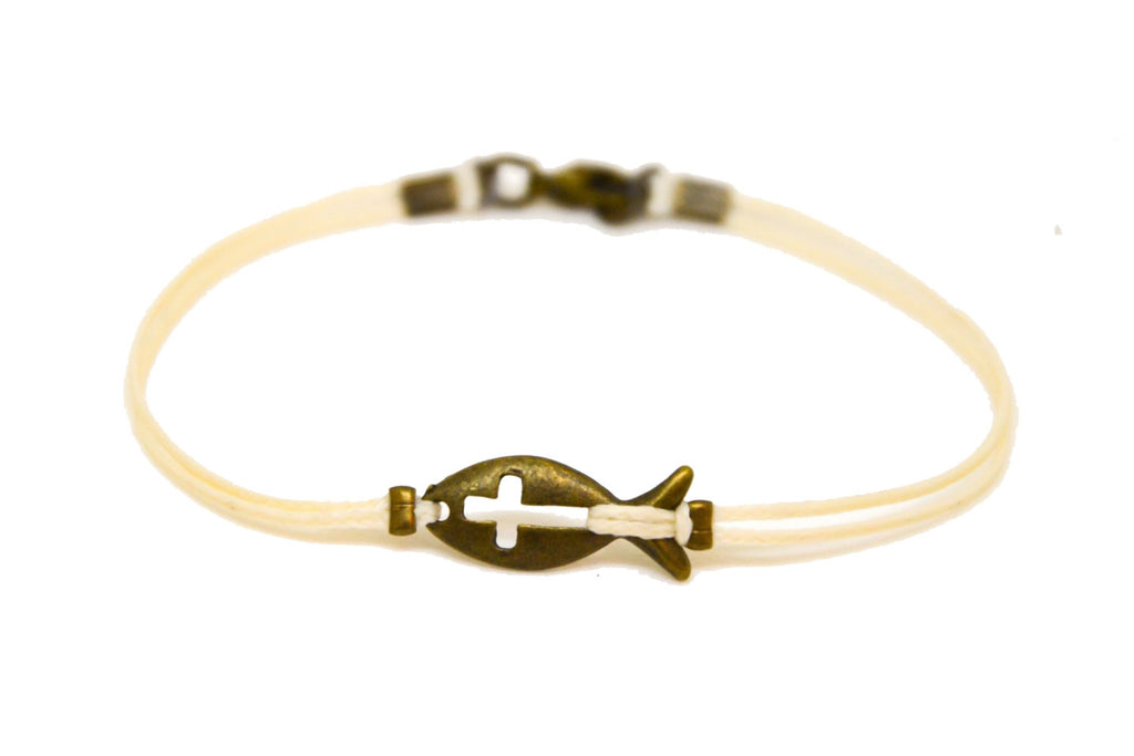 Bronze cross fish bracelet for men, beige cord