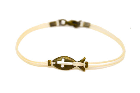 Bronze cross fish bracelet for men, beige cord - shani-adi-jewerly