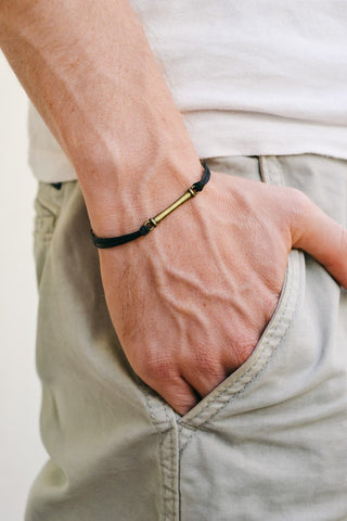 Bronze bar bracelet for men, black cord - shani-adi-jewerly