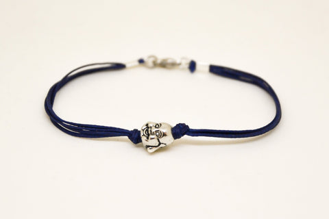 Buddha bracelet, men's bracelet with silver smiling buddha charm, Hindu, blue cord, bracelet for men, gift for him, yoga bracelet, spiritual