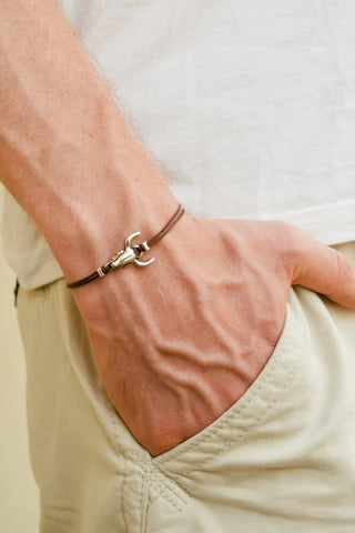 Bull head bracelet for men, brown cords, men's jewellery - shani-adi-jewerly