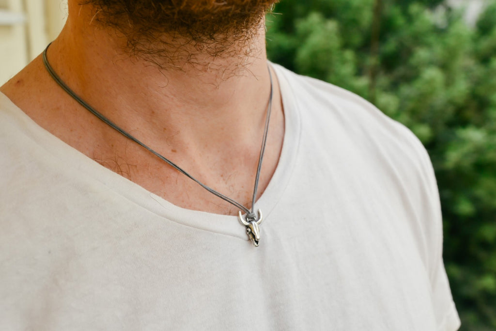 Bull's head necklace for men, gray cord,