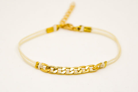 Beige cord bracelet with a gold plated flat chain charm - shani-adi-jewerly