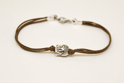 Men's bracelet with silver buddha charm, brown cord - shani-adi-jewerly