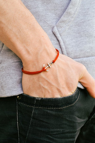 Silver anchor men's bracelet, red bracelet, beach skipper jewelry for men - shani-adi-jewerly