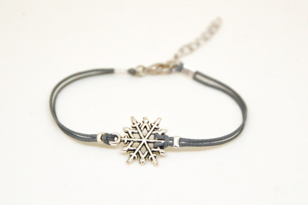 Women bracelet with silver snow flake charm, gray cord - shani-adi-jewerly