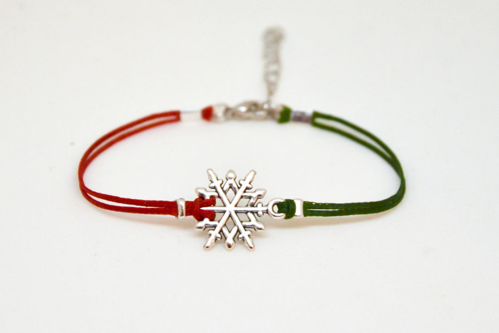 Snowflake bracelet, winter bracelet, women bracelet with silver snow flake charm, red and green cords, for sister, minimalist gift