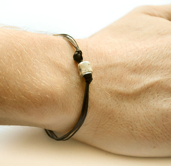Silver tube charm bracelet for men, black cord