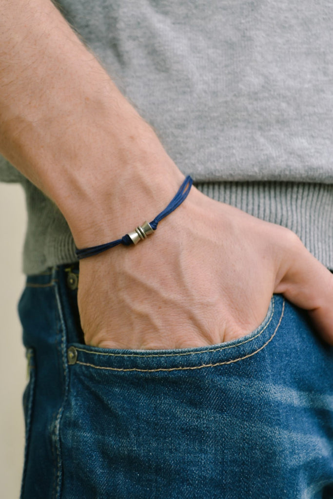 Men's bracelet with a silver tube charm and a blue cord, bracelet for men, gift for him, gift for boyfriend, mens jewelry, for him, bead