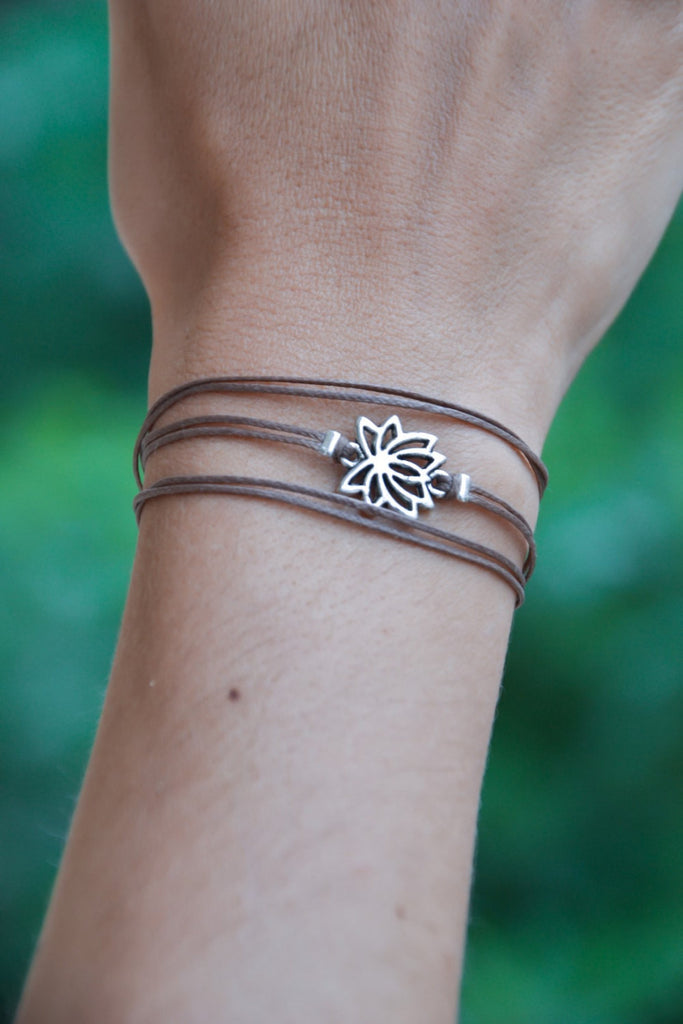 Wrapped bracelet with Tibetan silver Lotus charm - shani-adi-jewerly
