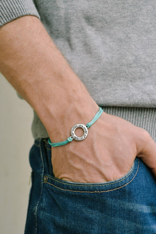 Life is what you make of it bracelet for men, turquoise cord - shani-adi-jewerly