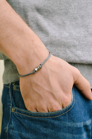 Silver tube bracelet for men, gray cord