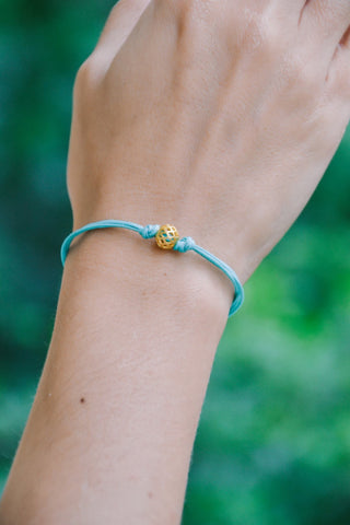 Gold ball bracelet, turquoise cord bracelet with gold bead, gift for girlfriend, minimalist jewelry, friendship, women bracelets, teal, 14k