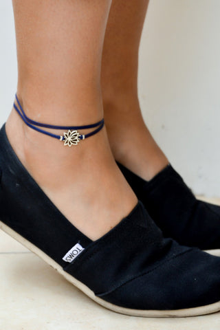 Lotus wrapped anklet, blue ankle bracelet with silver lotus charm, buddhist symbol, zen, flower, yoga bracelet, spiritual jewelry, flower