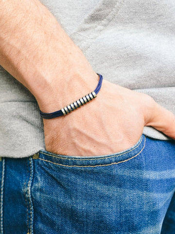 Long striped silver bar bracelet for men, blue cord