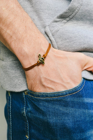 Bronze Treble clef bracelet for men, brown cords