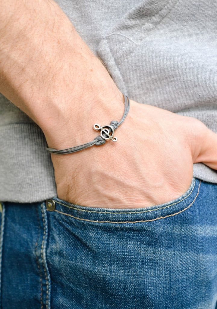Silver Treble clef bracelet for men, gray cords - shani-adi-jewerly