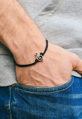 Silver Treble clef bracelet for men, black cords - shani-adi-jewerly