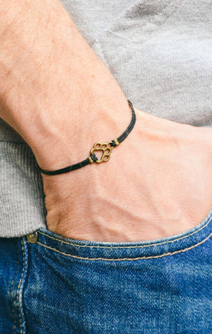 Paw bracelet, men's bracelet, bronze paw charm, black cords, animal lovers, bracelet for men, dog, pet lover bracelet, vegan, mens jewelry