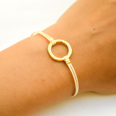 Karma bracelet for women, gold circle and beige cord, yoga jewelry - shani-adi-jewerly