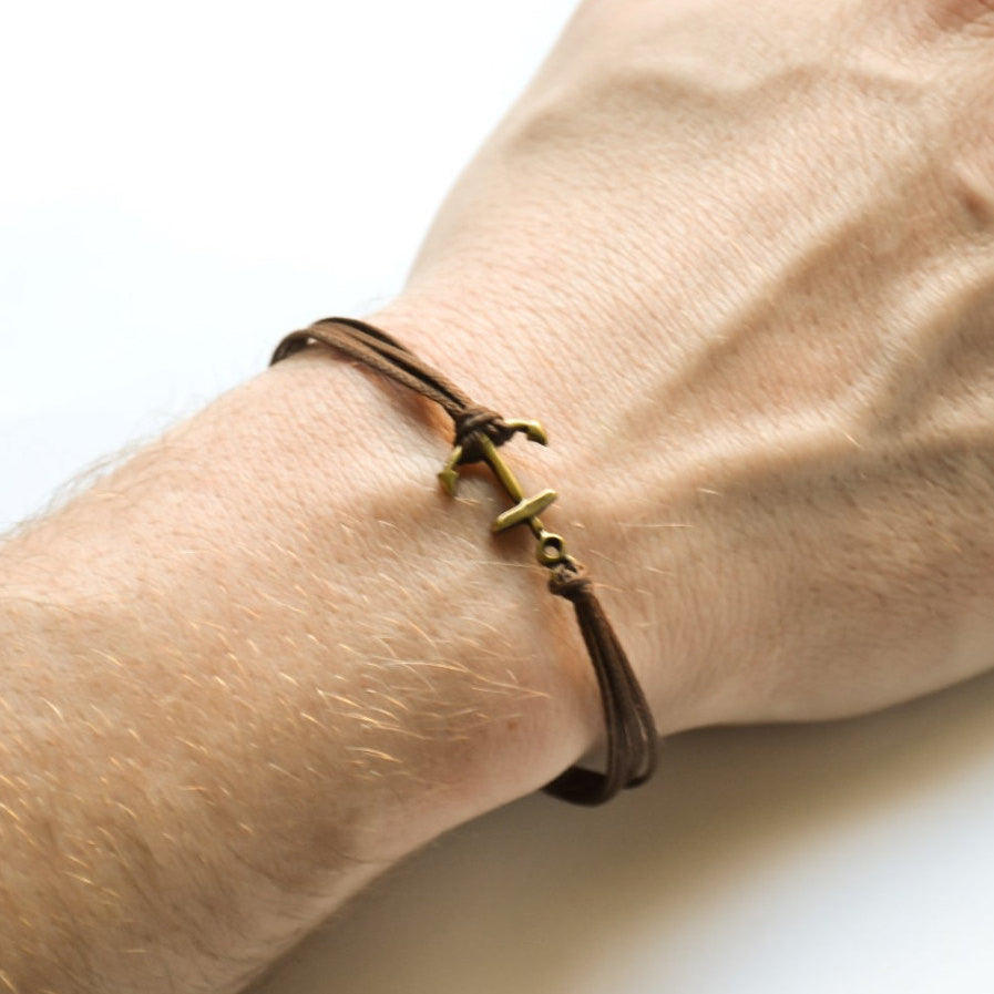 Bronze Anchor cord bracelet, brown cords