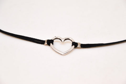 Silver plated heart necklace, black cord - shani-adi-jewerly