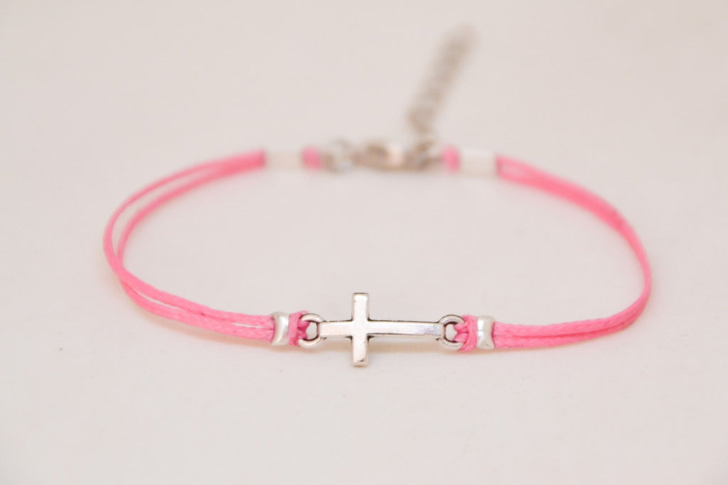 Women bracelet with silver cross charm with pink cord - shani-adi-jewerly