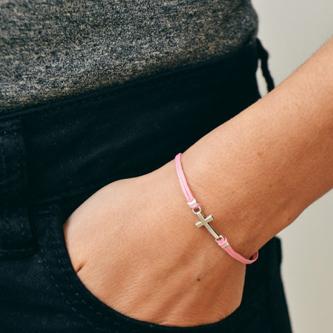 Women bracelet with silver cross charm, pink cord - shani-adi-jewerly