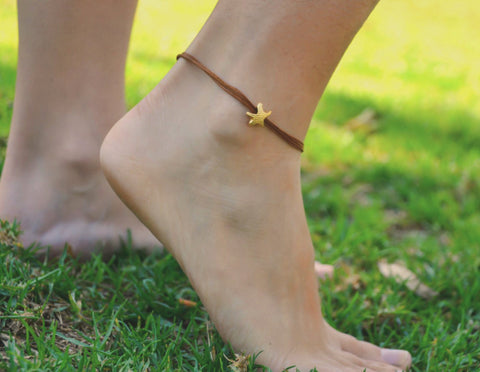 Ankle bracelet with gold plated starfish charm, brown string - shani-adi-jewerly