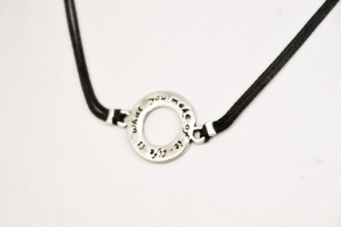 Life is what you make of it choker necklace, black, silver karma pendant, women's necklace, inspiration jewelry, motivation,