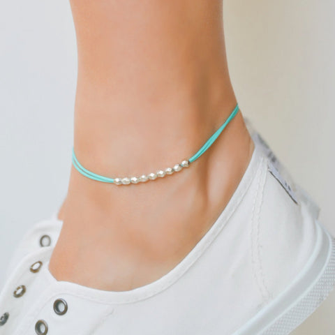 Silver nuggets anklet, turquoise cord - shani-adi-jewerly