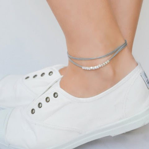Wrap gray ankle bracelet with matt silver nugget beads cubes - shani-adi-jewerly