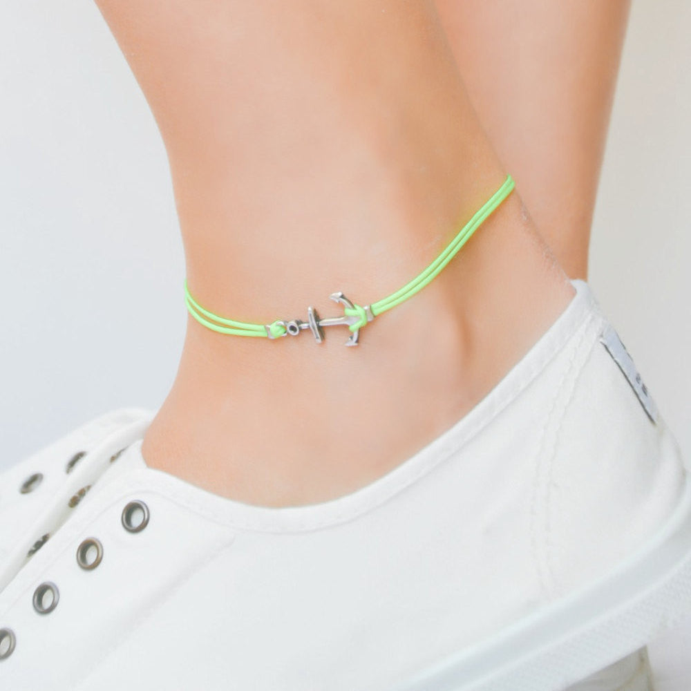 Neon yellow anklet with a silver anchor charm - shani-adi-jewerly