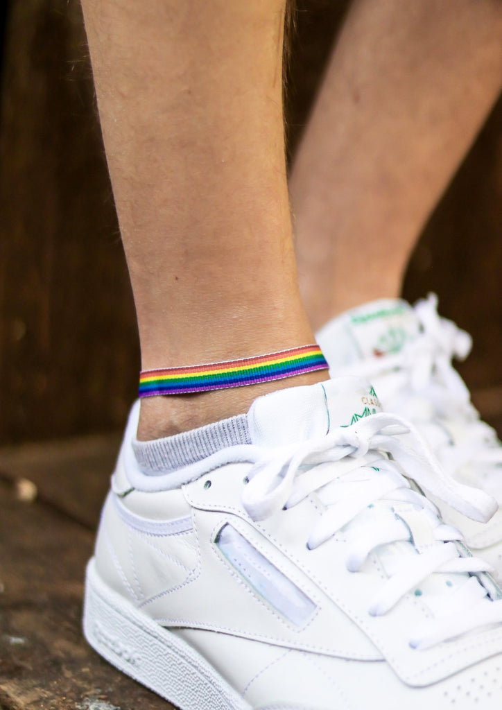 Pride ankle bracelet for men, rainbow flag strap ankle bracelet