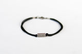Silver bead bracelet for men, black cord, geometric jewelry - shani-adi-jewerly