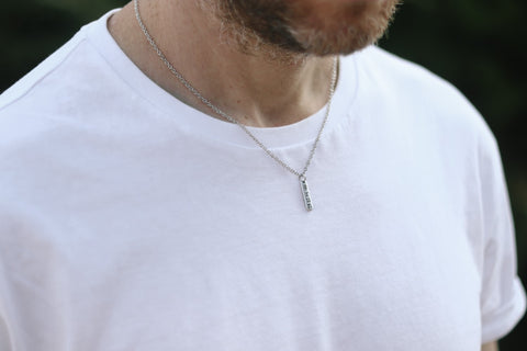 Run necklace for men, #run engraved, waterproof chain