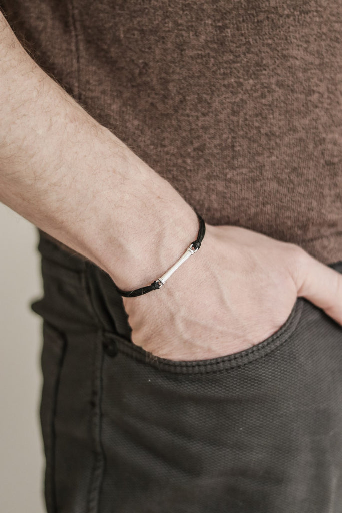 black cord silver bar bracelet for man