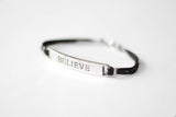 Silver believe charm bracelet for men, black cord, Christmas gift for him - shani-adi-jewerly