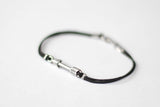 Silver arrow bracelet for men, black cords - shani-adi-jewerly
