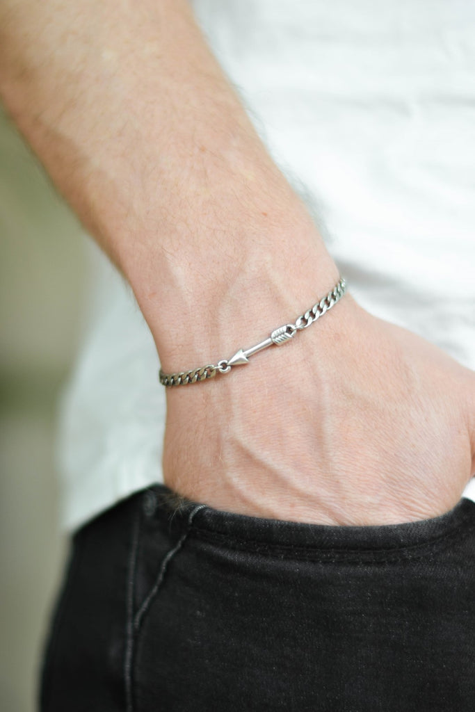Silver arrow chain bracelet for men