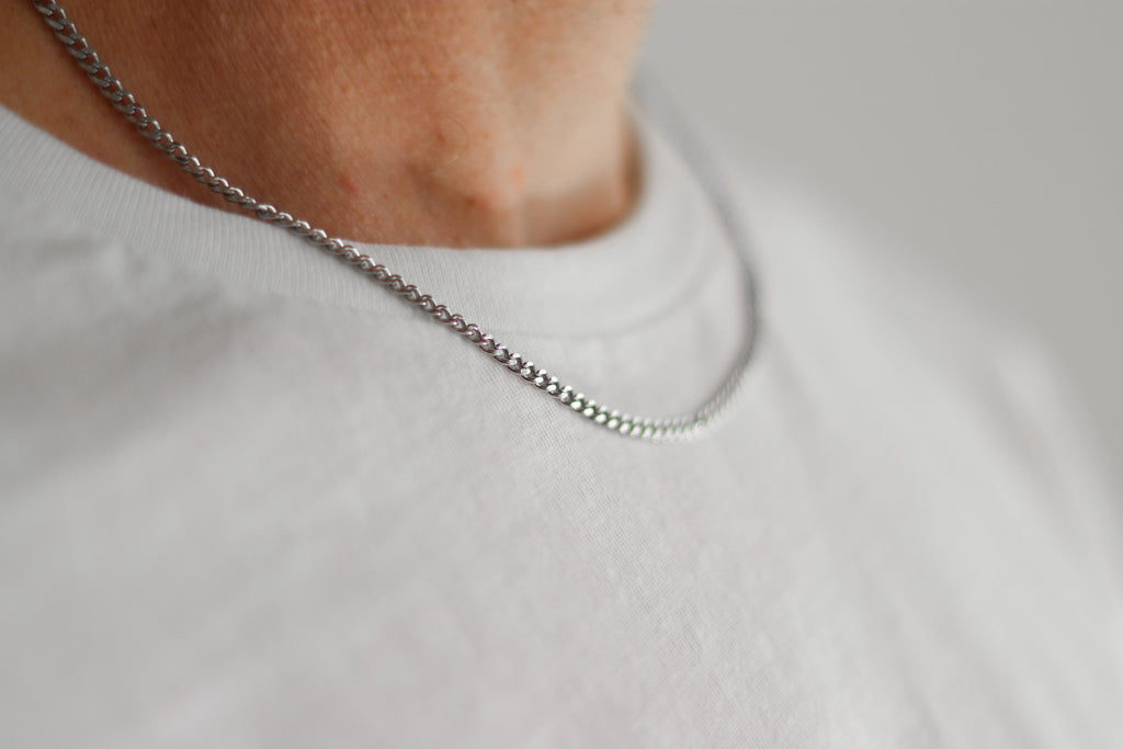 Silver link chain necklace for men - shani-adi-jewerly