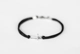 Silver cross bracelet for men, black double cord - shani-adi-jewerly