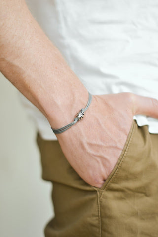 Silver UK bracelet for men, gray cord