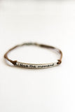Silver 'Live the moment'' bracelet for men, brown cord, gift for him - shani-adi-jewerly