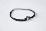 Number bracelet for men, black cord, personalised jewelry - shani-adi-jewerly