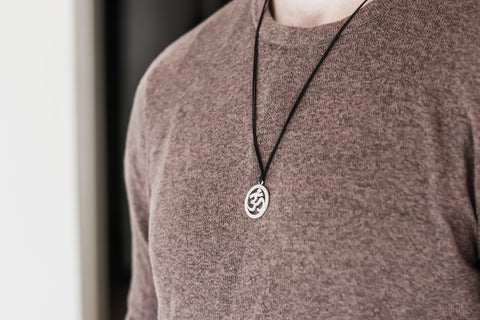 silver Om necklace for men