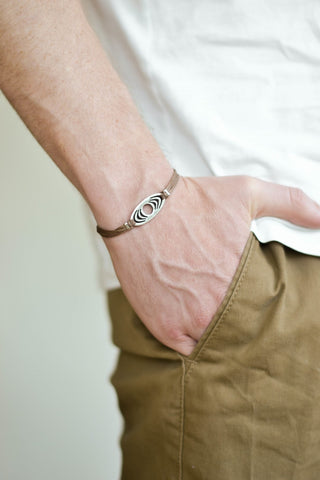 Bracelet for men, silver oval charm, brown cord - shani-adi-jewerly