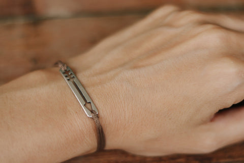 Arrow bracelet, brown bracelet with a silver plated arrow charm, purpose jewelry, gift for her